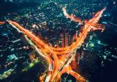 Aerial view of a massive highway intersection in Tokyo — Stock Photo