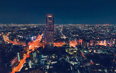 Aerial view cityscape at night in Tokyo — Stock Photo