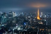 Tokyo from above with Tokyo Tower — Stock Photo