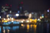 Bokeh harbor lights at night — Stock Photo