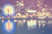 Night harbor lightswith ferris wheel — Stock Photo