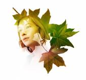 Woman with tree leaves — Stock Photo