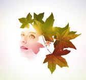 Exposure of woman with tree leaves — Stock Photo