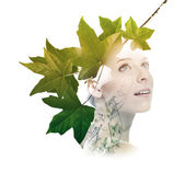Double exposure of woman with tree leaves — Stock Photo