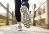 Woman jogging across a country bridge in the morning — Stock Photo