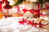 Christmas gift boxes at night — Stock Photo