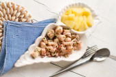 Typical italian recipe with steamed octopus and potatoes — Stock Photo