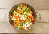 Vegetables steam cooking — Stockfoto