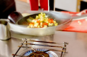 Cooking saute vegetables — Stock Photo