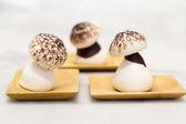 Meringue with mushroom shape — Stock Photo