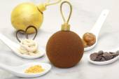 Christmas chocolate bauble with some ingredients which is made o — Stock Photo