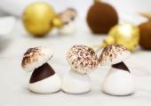 Meringue mushroms against Christmas pastry background — Stock Photo