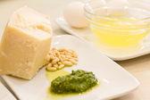 Pesto sauce, pine nuts, parmesan and egg albumen — Stock Photo