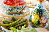 Mediterranean food ingredients with decorated oil bottle — Stock Photo