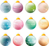 Colorful Christmas baubles with greeting and snowflakes — Stock Vector
