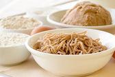 Homemade pasta with chestnut flour and egg pasta dough — Stock Photo