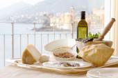 Genuine recipe ingredients against Camogli background — Stock Photo
