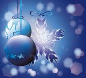 Blue Christmas tree decorations — Stock Vector