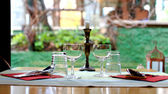 Romantic set for restaurant table for two — Stock Photo