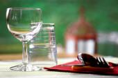 Detail of restaurant table set — Stock Photo