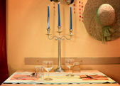 Romantic warm corner for table setting for two — Stock Photo