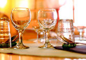Detail of warm restaurant table — Stock Photo