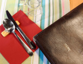 Restaurant menu with country table setting — Stock Photo