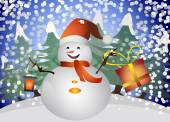 Christmas snowman in the forest with lantern and gift boh in his hands — Stock Vector