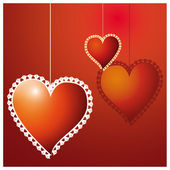 Valentine day hearts over red background — Stock Vector