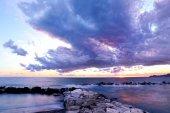 Stormy sunset over Portofino mount — Stock Photo