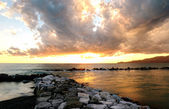 Golden sunset over Portofino mount — Stock Photo