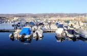 Trieste turistik limanın panoramik görünüm — Stok fotoğraf