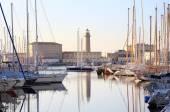 Lighthouse to trieste touristic harbor — Stock Photo