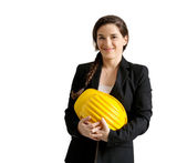 Smiling female enginer with helmet over white background — Stock Photo