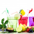 Exotic fruits cocktail against white background — Stock Photo #75348789