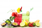 Exotic summer fruits cocktail over white — Stock Photo