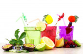 Summer fruits cocktail over white — Stock Photo