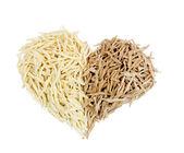 Heart shape made by ligurian trofie — Stock Photo