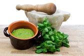 Pesto sauce  pesto sauce with ingredients over white background — Stock Photo