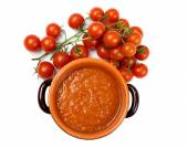 Home made tomato sauce with ingredients — Stock Photo
