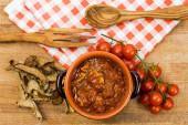 Boletus sauce with tomato sauce — Stock Photo