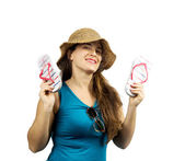 Smiling girls with beach clothes and flip-flop — Stock Photo