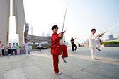Shanghai Woman Tai Chi — ストック写真