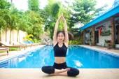 Asian Girl doing yoga pose — Foto Stock