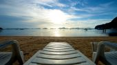 El Nido beach with recliner — Stock Photo