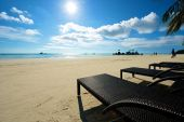 Beach view with recliner in Boracay — Stock Photo