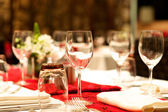 Wedding banquet table set up — Stock Photo