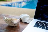 Vacation work with laptop at pool — Foto de Stock