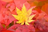 Yellow leaf vector polygon — Stock Vector