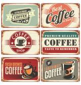 Retro coffee tin signs collection — Stock Vector